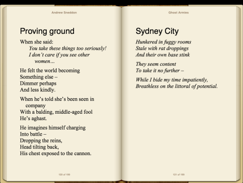 "Two poems are shown on two ""pages"", with each beginning at the top of a new page."
